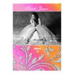Sweet 16 Party Invite Glitter Leaves Pink Orange