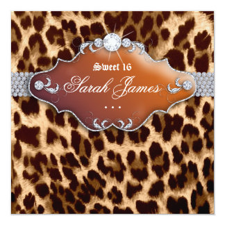 Sweet 16 Party Invite Leopard Brown Black