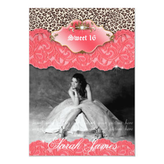 Sweet 16 Party Invite Leopard Crown Coral