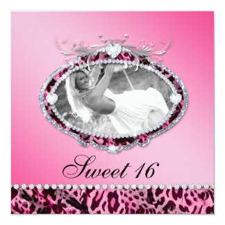 Sweet 16 Party Invite Leopard Pink Photo Modern