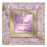 Sweet 16 Party Invite Pink Gold Jewelry Leaf Swirl