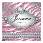 Sweet 16 Party Invite Pink Jewelry Glitter Zebra
