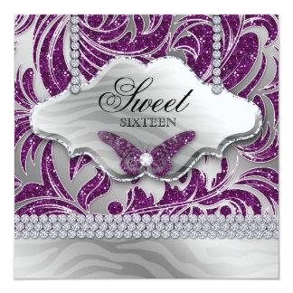 Sweet 16 Party Invite Purple Jewelry Butterfly