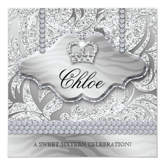 Sweet 16 Party Invite White Crown Jewelry Leaves