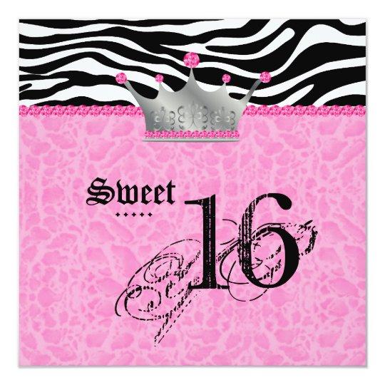 Sweet 16 Party leopard Zebra Lace Crown Card