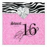 Sweet 16 Party leopard Zebra Lace Heart Diamond Card