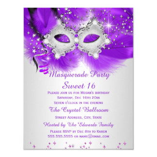 Sweet 16 Party Mask Purple Silver Masquerade 4.25x5.5 Paper Invitation Card