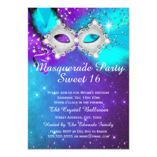 Sweet 16 Party Mask Teal Purple Silver Masquerade Card