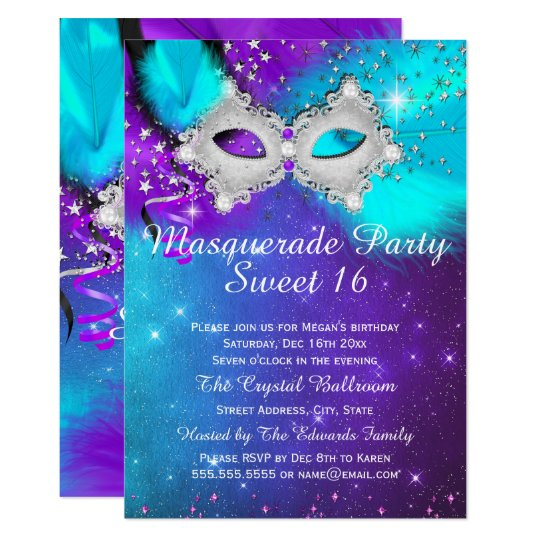 Sweet 16 Party Mask Teal Purple Silver Masquerade Invitation