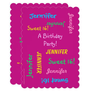 Sweet 16 Party Pink Invite, Personalized, Names Card