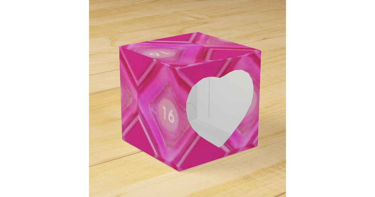 Sweet 16 Party, Pink, Number Sixteen Favor Box   Zazzle