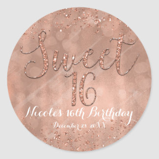Sweet 16 Party Pink Rose Gold Glamour Favor Classic Round Sticker