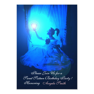 "SWEET 16  PARTY,SAPPHIRE BLUE ,BLACK DAMASK 5"" X 7"" INVITATION CARD"