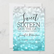 Sweet 16 Party Silver Teal Glitter Lights Save The Date