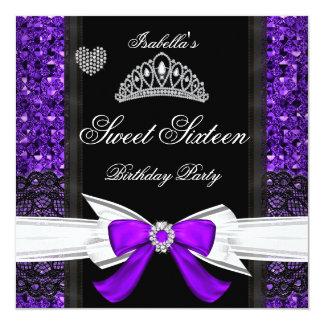 Sweet 16 Party Sweet Sixteen Glitter Purple Card