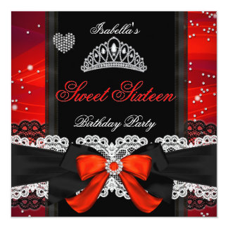 Sweet 16 Party Sweet Sixteen Glitter Red Bow Card