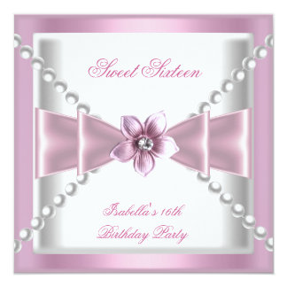 Sweet 16 Party Sweet Sixteen Pink White Flower 2 Card