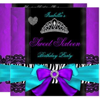 Sweet 16 Party Sweet Sixteen Purple Teal Zebra Card