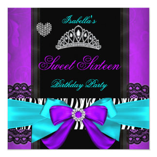 Sweet 16 Party Sweet Sixteen Purple Teal Zebra 5.25x5.25 Square Paper Invitation Card