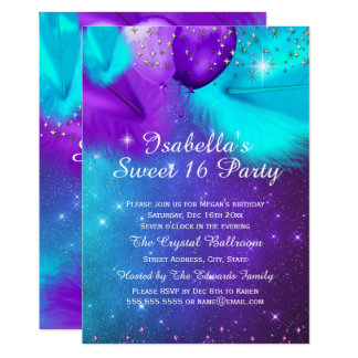 Sweet 16 Party Teal Purple Silver Balloons Card