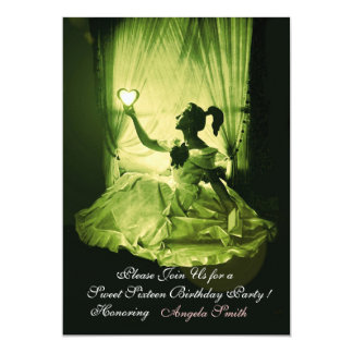 "SWEET 16  PARTY, YELLOW GREEN BLACK DAMASK 5"" X 7"" INVITATION CARD"