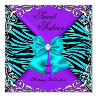Sweet 16 Party Zebra Purple Teal Diamond Bow 5.25x5.25 Square Paper Invitation Card