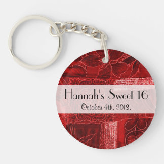 Sweet 16 - Patchwork, Flowers, Swirls - Red Keychain