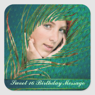 Sweet 16 peacock feathers photo label stickers