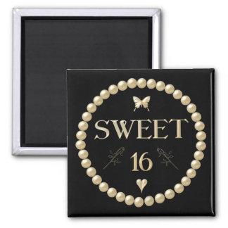 """Sweet 16 - Pearls on black """"velvet"""" 2 Inch Square Magnet"""