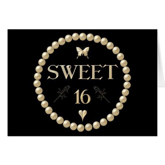 """Sweet 16 - Pearls on black """"velvet"""" Card"""