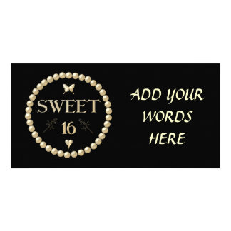 "Sweet 16 - Pearls on black ""velvet"" Card"
