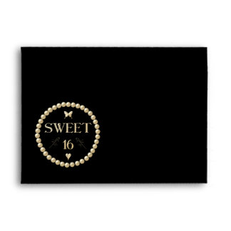 "Sweet 16 - Pearls on black ""velvet"" Envelope"