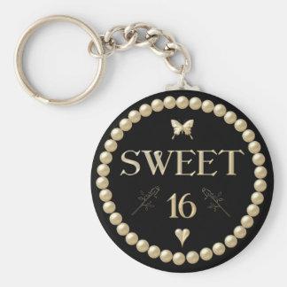 """Sweet 16 - Pearls on black """"velvet"""" Key Chains"""