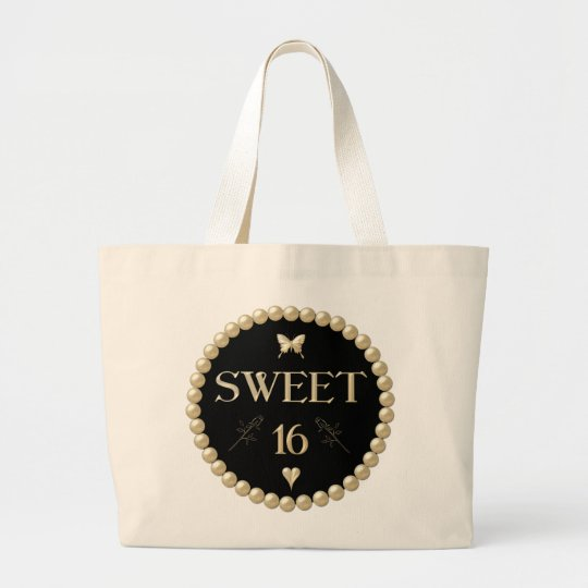"Sweet 16 - Pearls on black ""velvet"" Large Tote Bag"