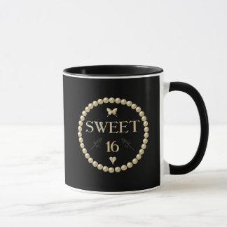 """Sweet 16 - Pearls on black """"velvet"""" Mug"""