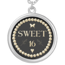 "Sweet 16 - Pearls on black ""velvet"" Necklaces"