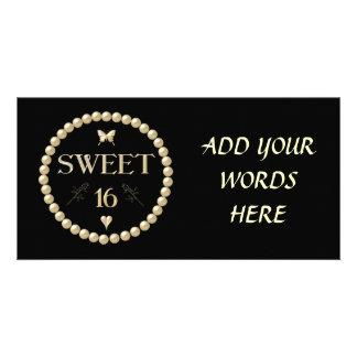 """Sweet 16 - Pearls on black """"velvet"""" Photo Card"""