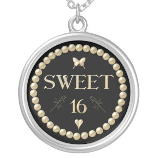 "Sweet 16 - Pearls on black ""velvet"" Round Pendant Necklace"