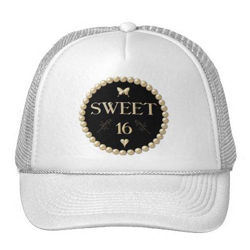 """Sweet 16 - Pearls on black """"velvet"""" Trucker Hat"""