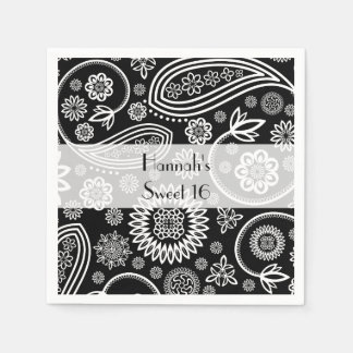 Sweet 16 - Persian Paisley, Dots - Black White Paper Napkin