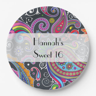 Sweet 16 - Persian Paisley - Green Pink Blue Paper Plate