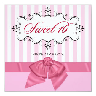"""Sweet 16 - Personalized Birthday Party Invitations 5.25"""" Square Invitation Card"""