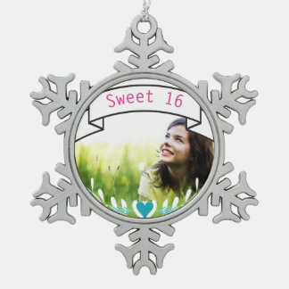 Sweet 16 Personalized Photo Typography Banner Ornaments