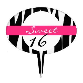 Sweet 16 Personalized Zebra Striped Cake Topper