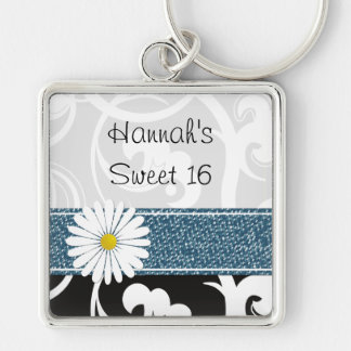 Sweet 16 Petals Flowers Blossoms Black White Blue Keychain