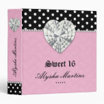 Sweet 16 Photo Album Dots Lace Heart Diamond Pink 3 Ring Binder
