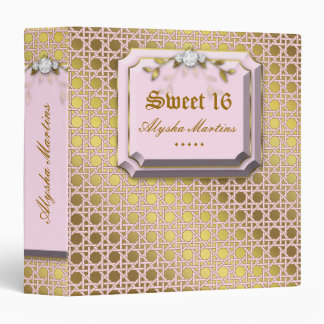 Sweet 16 Photo Album Lattice Leaves Pink Jewel 3 Ring Binder