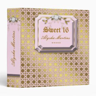 Sweet 16 Photo Album Lattice Leaves Pink Jewel Binder