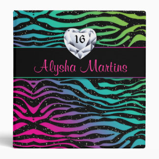 Sweet 16 Photo Album zebra rainbow heart Binder