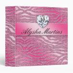 Sweet 16 Photo Album zebra sparkle heart pink Binders